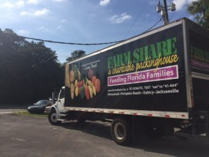 The Jacksonville branch of Farm Share Inc., a food distribution nonprofit that operates throughout Florida, delivered bags of food for Gainesville residents Tuesday at the Salvation Army on East University Avenue (TJ Pyche/WUFT News).