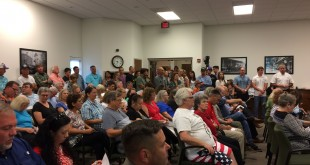 Members of the public listen to disucssion of the phosphate mining application at the Bradford County's commission meeting Thursday. (Li Stalder/WUFT News)
