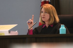 Circuit Judge Monica Brasington overrules an objection from GREC attorney Rob Vezina during the 8-day trial over a lawsuit filed against the Gainesville biomass plant's operators. (Ethan Magoc/WUFT News)