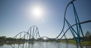 This undated image provided by SeaWorld Orlando shows the new Mako roller coaster, which opens June 10 at the theme park in Orlando, Florida. The shark-themed ride has track that's nearly a mile long, rising 200 feet at its highest point and reaching speeds up to 73 mph. (Chad Baumer/SeaWorld Parks and Entertainment via AP)