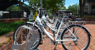 A row of rental bikes stand idle at Bo Diddley Community Plaza. Go Gainesville, the city's bike share program, saw an average of two rentals a day in May. Officials said rental numbers are expected to grow after the summer months. (Lauren Johnson / WUFT.org)