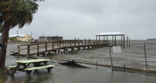 Tropical Storm Colin batters the pier in Cedar Key as the storm moves ashore on Monday, June 6, 2016. (Matthew Brannon/WUFT News)