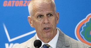 FILE - In this Dec. 6, 2014, file photo, Florida athletic director Jeremy Foley speaks to the media during a press conference. The University Athletic Association said three internal candidates have decided not to pursue the athletic director position. (AP Photo/Phil Sandlin, File)