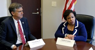 Attorney General Loretta Lynch, right, conducts a meeting with U.S. Attorney Lee Bentley, concerning the Pulse nightclub mass shooting at the U.S. Attorney's office, Tuesday, June 21, 2016, in Orlando, Fla. (AP Photo/John Raoux)