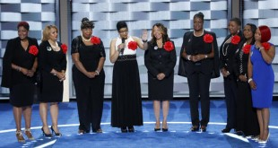 Sybrina Fulton, Geneva Reed-Veal, Lucy McBath, Gwen Carr, Cleopatra Pendleton, Maria Hamilton, Lezley McSpadden and Wanda Johnson from Mothers of the Movement speak during the second day of the Democratic National Convention in Philadelphia , Tuesday, July 26, 2016. (AP Photo/J. Scott Applewhite)