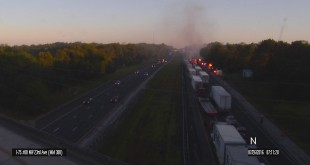 A truck crashed on I-75 Tuesday morning, causing hours of traffic delays. (Courtesy of GAC Smarttraffic)
