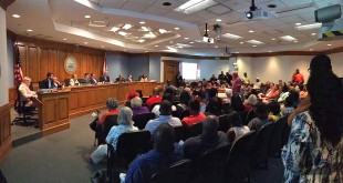 The people of Gainesville filled the chambers of the city commission in support of police chief Tony Jones in response to a letter sent to the city manager questioning the chief's leadership of the department. (Courtesy Harvey Ward)