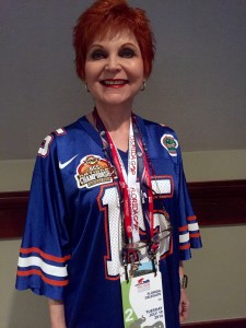 GOP delegate Kathy Rapp,of Seabring, Fla. adorned in her Tim Tebow Gator jersey, was ready for the SEC State Tailgate function after the breakfast.