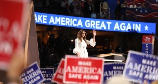 Melania Trump takes the stage at the Republican National Convention on July 18, 2016.