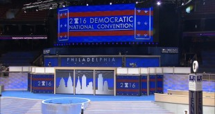 The stage is set for the start of the Democratic National Convention at the Wells Fargo Center in Philadelphia.