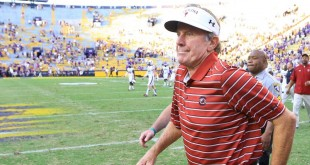 Oct 10, 2015; Baton Rouge, LA, USA; South Carolina Gamecocks head coach Steve Spurrier runs off the field following a loss against the LSU Tigers in a game at Tiger Stadium. LSU defeated South Carolina 45-24. Mandatory Credit: Derick E. Hingle-USA TODAY Sports
