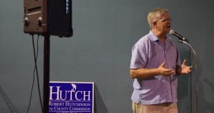 District Three Alachua County Commissioner Robert Hutchinson delivers a speech to a crowd of supporters at First Magnitude Brewery Tuesday night. Hutchinson won against contender Larry McDaniel in his race for reelection. (Laura Cardona/WUFTNews)