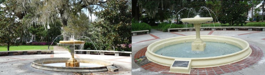 Before (left) and after photos show the repairs made to the Thomas Center's West Gardens fountain. (Photos courtesy city of Gainesville)
