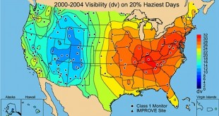 This maps shows the average visibility conditions from 2000 to 2004 during the 20 percent best visibility days. (Graphic courtesy of the Florida Department of Environmental Protection)