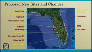 Florida wildlife officials are working on establishing buffers for islands and Withlacooche Caves in Citrus County to protect birds and bats from human encroachment. Those in red are proposed new areas, and those in yellow are ones proposed for improvement of existing boundaries. (Graphic courtesy Florida Fish and Wildlife Conservation Commission)