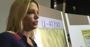 Florida Attorney General Pam Bondi talks with reporters at a press conference Tuesday about making the synthetic drug UB-47700 illegal in the state. (Briana Erickson/WUFT News)