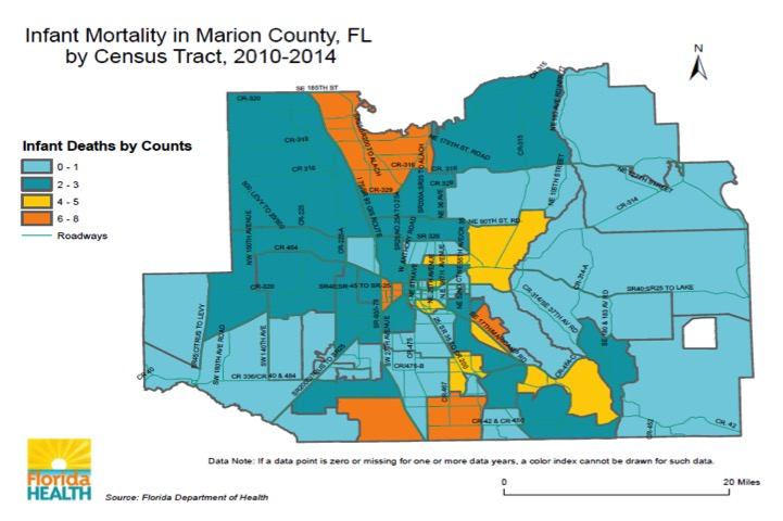 Marion County Confronts Infant Death With New Health Program - Us infant mortality map
