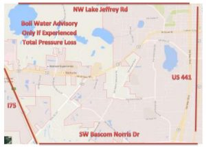 Map of the affected areas where water pressure was either partially or completely lost. The affected areas are between Interstate 75 and US 441 east and west, and between Lake Jeffery Road and Bascom Norris Drive north and south. (Map courtesy of the City of Lake City)