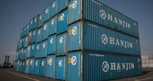 Containers are stacked at the Hanjin Incheon Container Terminal on Sept. 3 in Seoul. South Korea's Hanjin Shipping company declared bankruptcy Aug. 31.