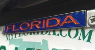 "License plate frames covering any part of the face of a license plate—including MyFlorida.com—might be breaking a Florida law. Licence plates must be ""clear and distinct,"" according to Florida Traffic State Statute 316.605. (Photo by WUFT News/Michaela Steakley)"