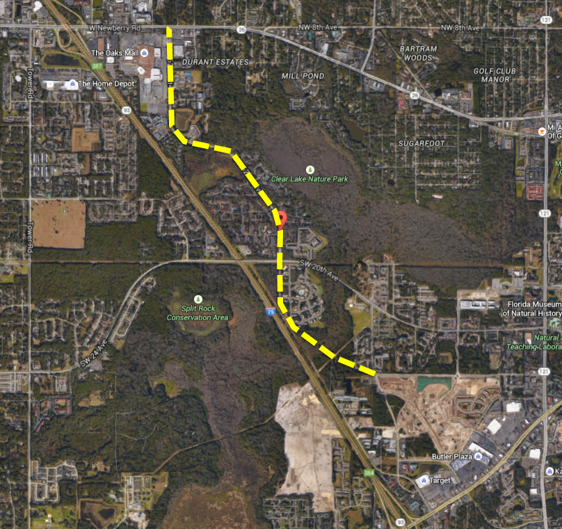 The yellow dotted line shows a planned road project in Gainesville that will connect Clark Butler Boulevard and Southwest 62nd Boulevard. The project is meant to alleviate Southwest 20th Avenue traffic. (Photo courtesy Gainesville Public Works)