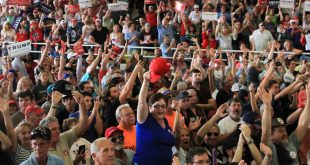Donald Trump supporters cheer during a rally in Ocala in October. Turnout from Florida voters in this year's presidential race exceeded some predictions that said turnout would drop because of dissatisfaction with both Trump and his main opponent, Hillary Clinton. (Alex Sargent/WUFT News)