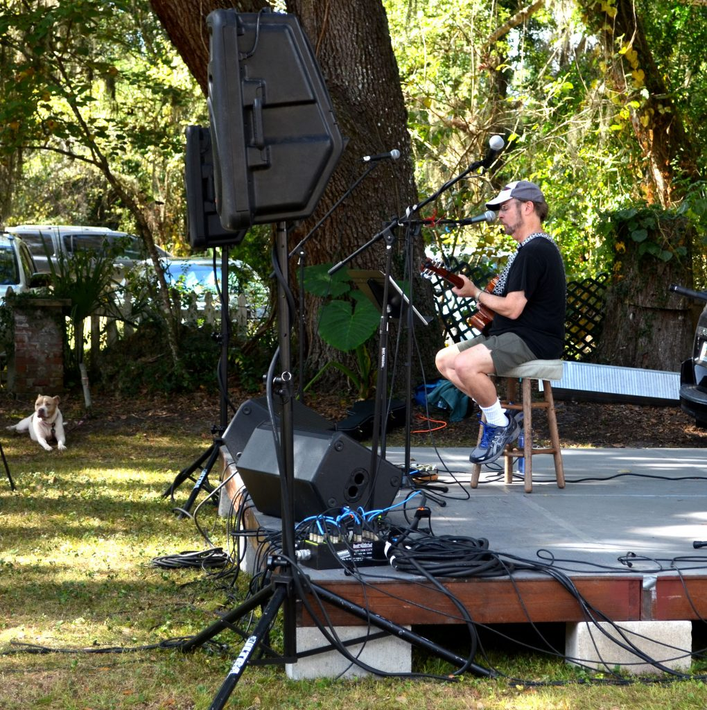 Pat Breslin performs on stage at the Micanopy Fall Festival. Breslin is a public speaking professor at Santa Fe and usually performs as part of a duo. (Nicole Dan/WUFT News)