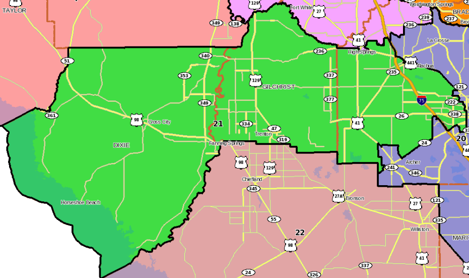 Florida state house District 21 covers Dixie, Gilchrist and part of Alachua County.