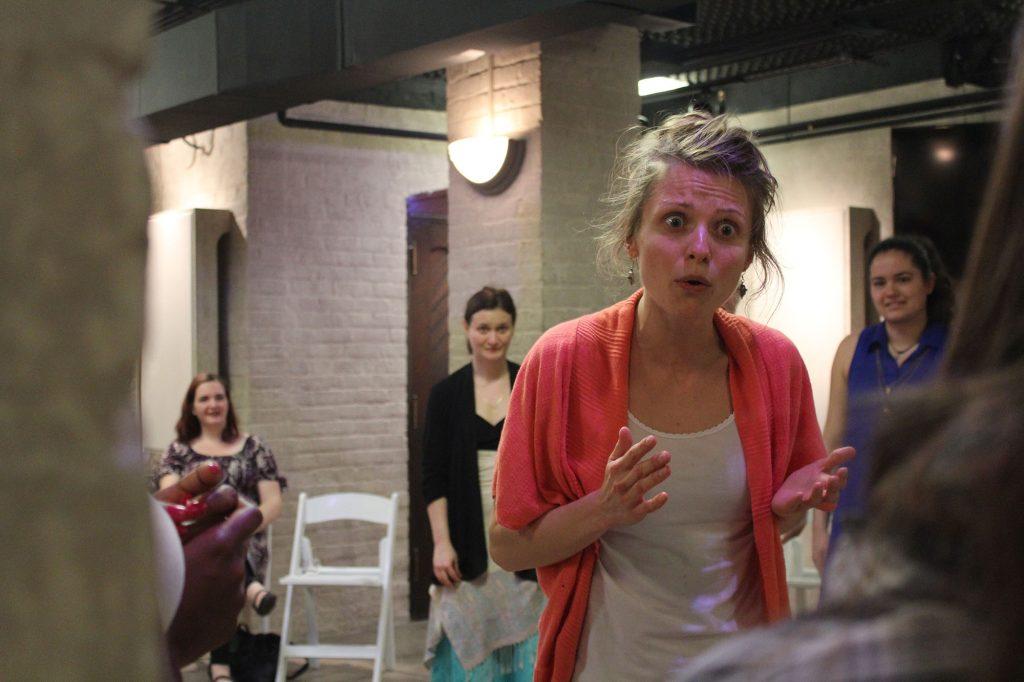 Agnieszka Kazimierska gives a monologue.