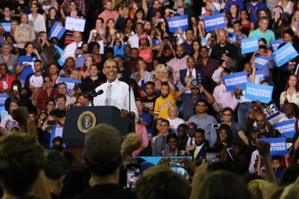 President Barack Obama campaigns for Hillary Clinton at the University of Central Florida CFE Arena on Friday, 10 days before Election Day. (Rachel Wang/WUFT News)