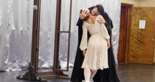 "Sergii Sidorskyi dances as Dracula with Yulia Pivotskaya in ""Dracula,"" which is part of ""Fangs,"" Saturday afternoon at Pofahl Studios. The Dance Alive National Ballet will perform the full ""Fangs"" production on Oct. 28 in the Phillips Center for the performing arts."