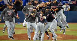 Oct 19, 2016; Toronto, Ontario, CAN; The Cleveland Indians celebrate beating the Toronto Blue Jays in game five of the 2016 ALCS playoff baseball series at Rogers Centre. (Dan Hamilton/USA TODAY Sports)