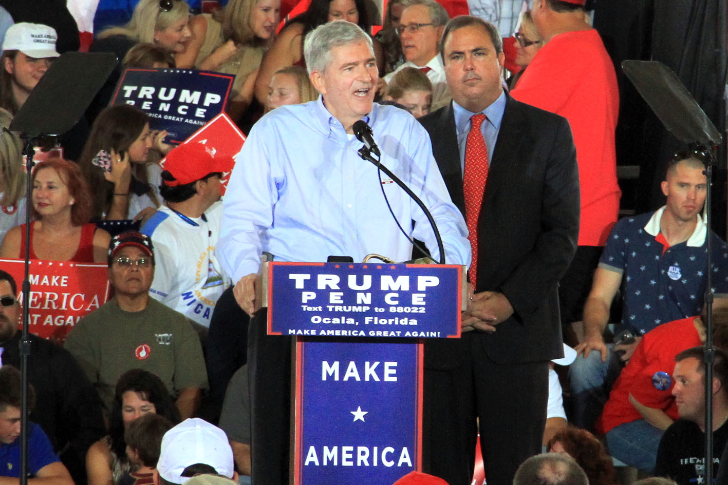 """US Representative Daniel Webster addresses Trump's supporters during his rally Wednesday afternoon. Even after Trump lost the endorsement of numerous high-profile Republicans, including senators, representatives, and governors, over the past week, Webster has continued to support Trump's candidacy. """"I may be in congress, but I'm supporting Donald Trump for president,"""" Webster said."""