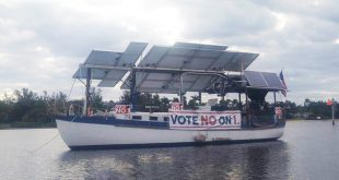 Carter Quillen began building The Archimedes, the world's largest solar-powered concrete boat, seven years ago. And now, he's taking it on a tour of coastal states in opposition to Amendment 1, the solar amendment. (Photo courtesy Carter Quillen)