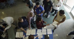 People stand in line to register to vote at the Miami-Dade County Elections Department, Wednesday, Oct. 12, 2016, in Doral, Florida. (AP Photo/Lynne Sladky)
