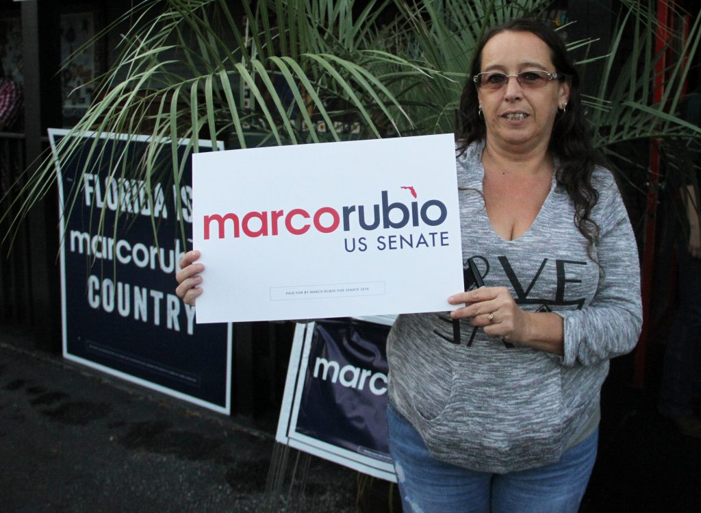 "Kathleen McWherter, who moved to Florida from New York City 13 years ago, said she's supporting Rubio, ""because I think Patrick Murphy is a wing nut. I just like what Republicans stand for."" Immigration, jobs and security are issues that McWherter said were most important to her this election season. (Antara Sinha/WUFT News)"