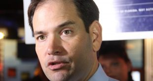 "Rubio spoke about Hillary Clinton and Keith Perry's pending FBI investigations. ""You've got the leading candidate for senate and the leading candidate for president from the Democratic party both under FBI investigation -- that's just unprecedented."" (Antara Sinha/WUFT News)"