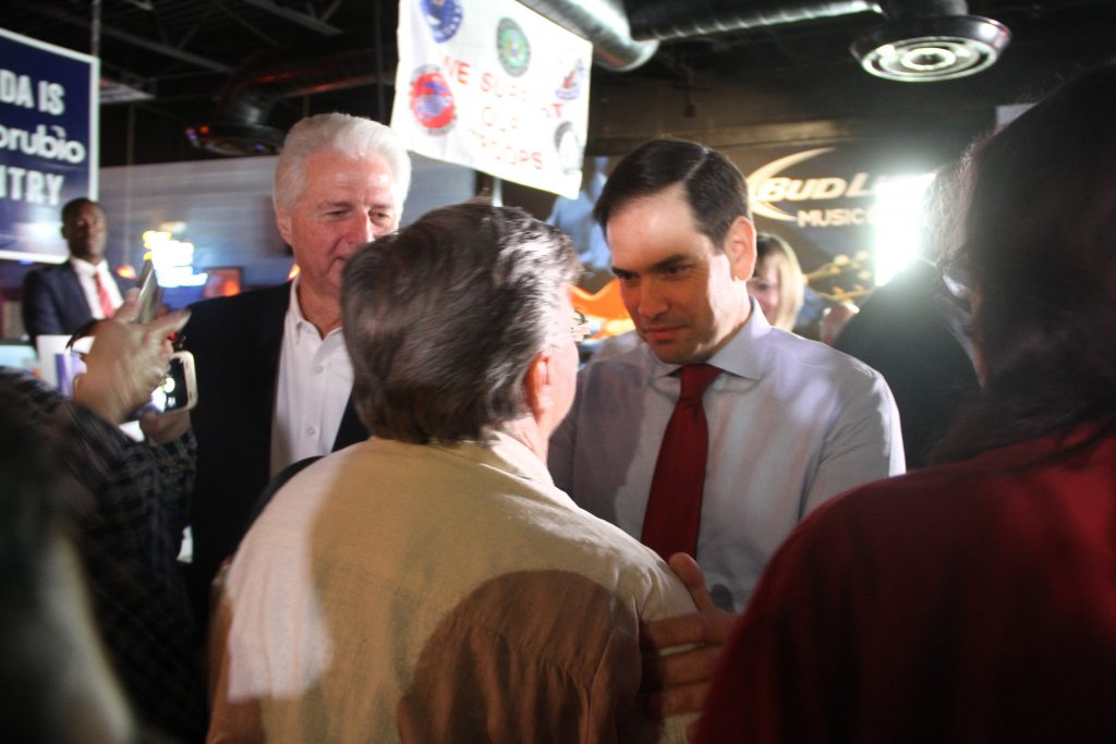 Rubio works the crowd after speaking. Many of the Rubio supporters in attendance supported Rubio in the presidential primary race, and said they would vote for him because they shared similar moral values on issues such as gay marriage and abortion. (Antara Sinha/WUFT News)