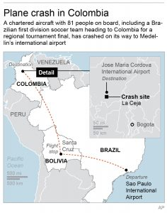 Map locates departure, flight stop, destination and crash site of plane heading to Colombia (Associated Press).