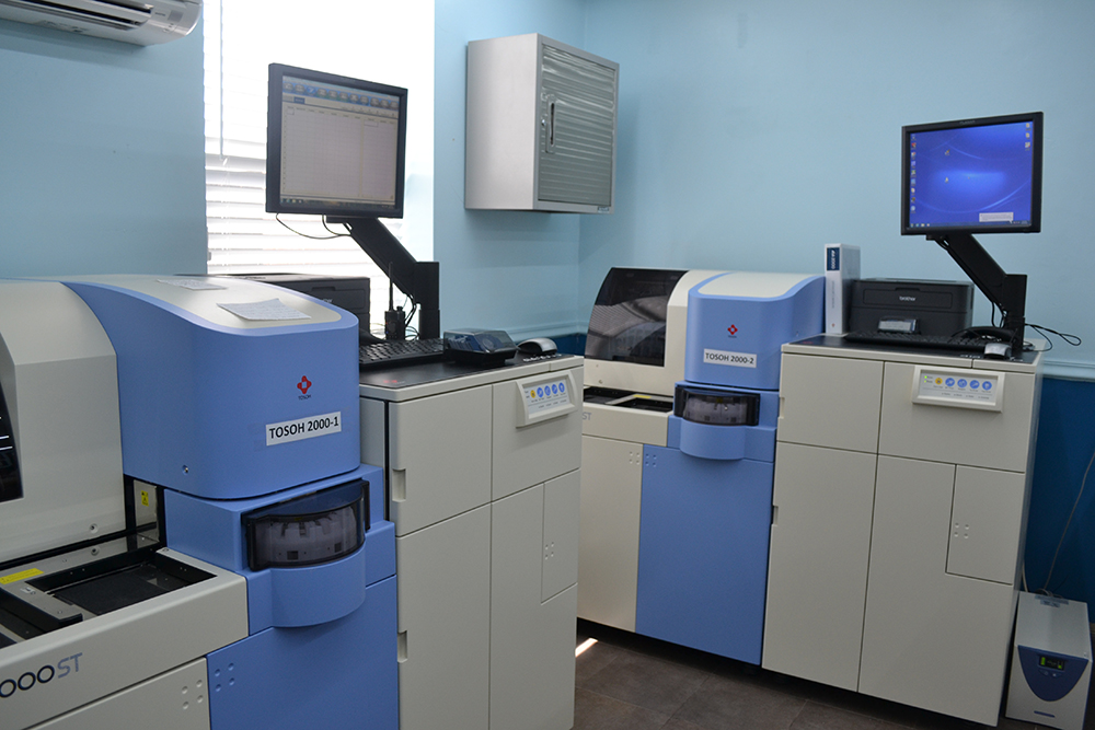 The Tosoh AIA-2000 is a system that runs about 200 tests per hour. This system is used to analyze enzyme immunoassay, or the link between enzymes and antibodies. (Elayza Gonzalez/WUFT News)
