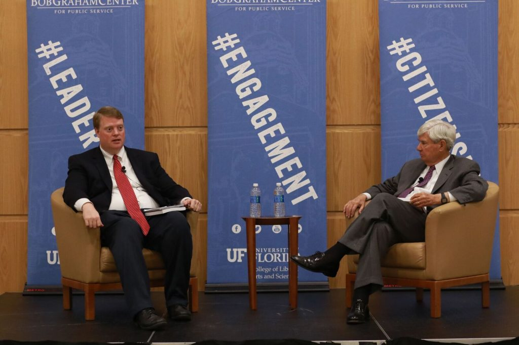 """Former Florida Gov. and U.S. Senator Bob Graham and co-author, Chirs Hand, visited the Universit of Florida on Tuesday to speak about the new edition of their book, America, the Owner's Manual: You Can Fight City Hall — and Win."""" (Photo courtesy of Santosh Vemula)"""