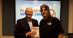 Towers in the Sand: The History of Florida Broadcasting Author, Donn Colee with WUFT-FM host, Glenn Richards (WUFT News/Dana Hill)