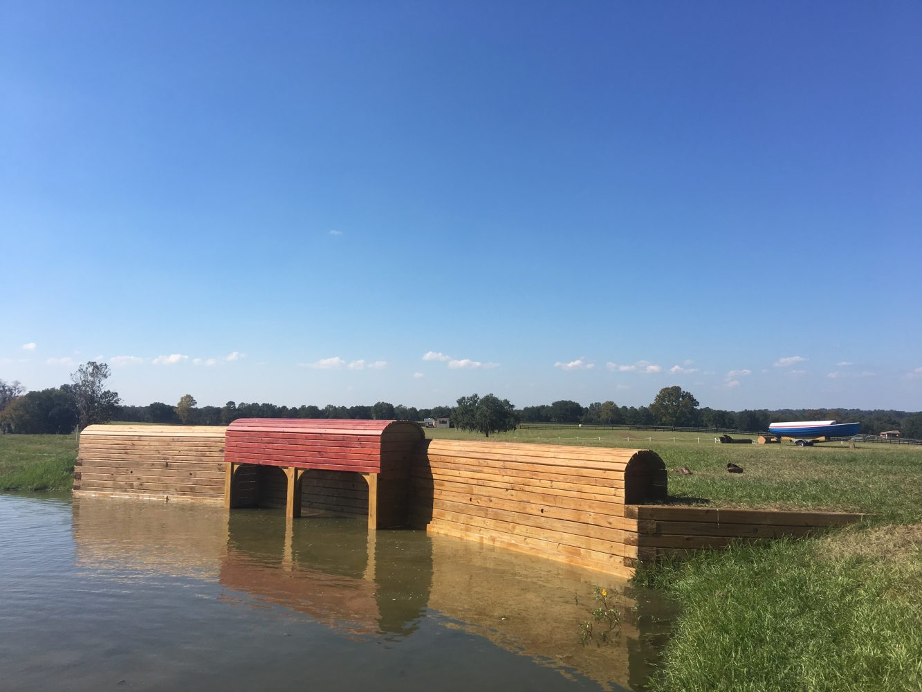 The competing horses will jump over these handmade obstacles during the event on Nov. 24-27.This obstacle, representing a boat house, drops six feet into a lake.