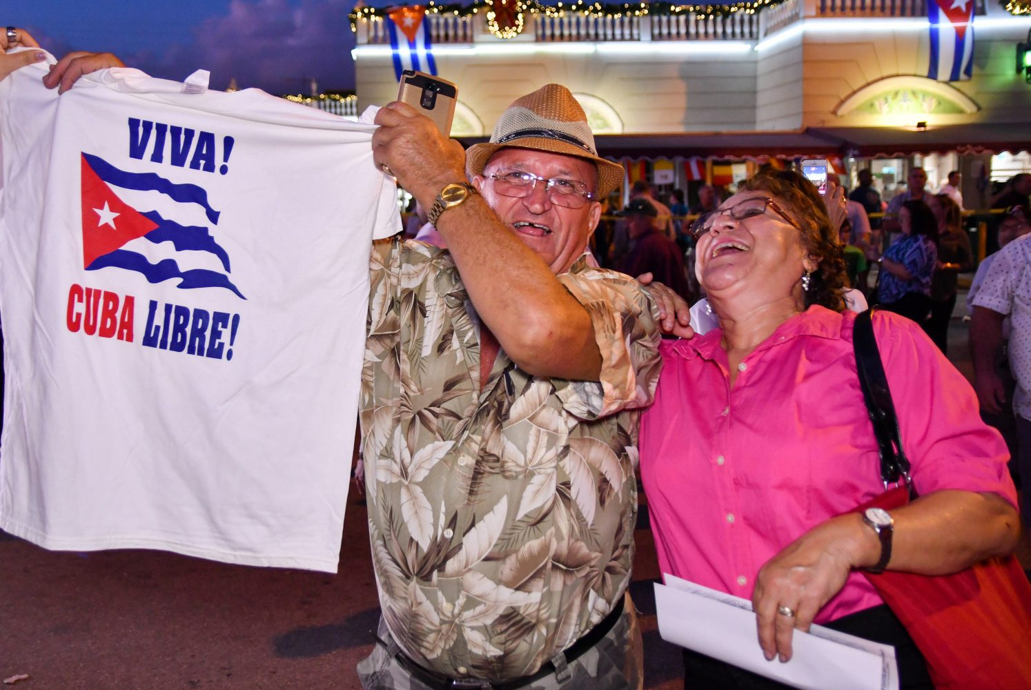 The Cuban community of Miami celebrates in the streets following the death of Fidel Castro (Grace King/WUFT News)