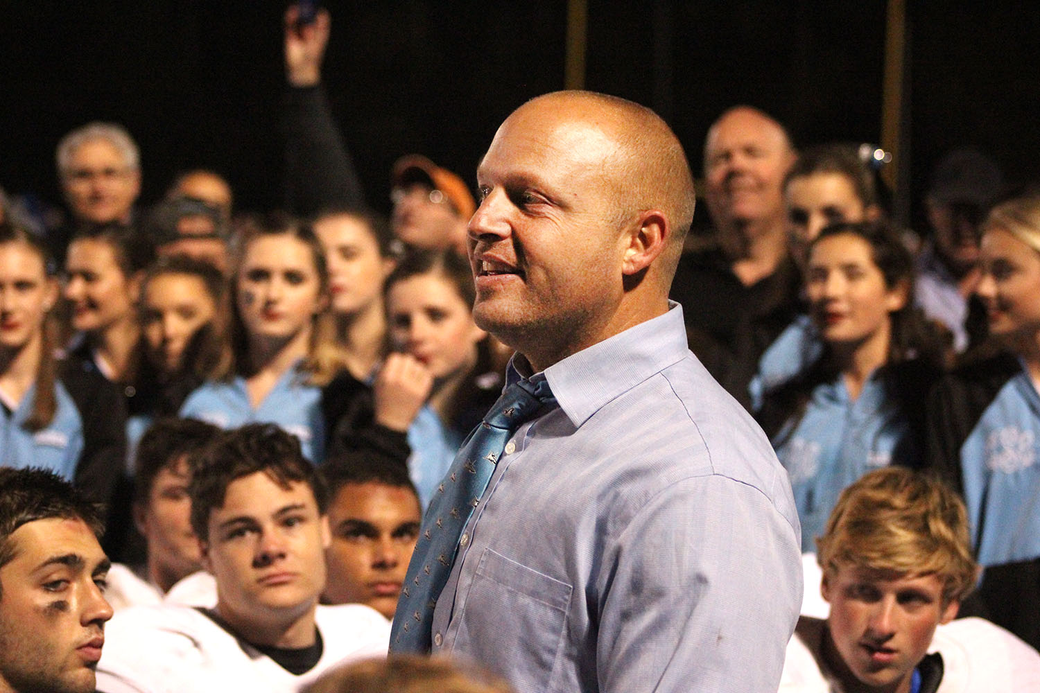 Ponte Vedra coach Matt Toblin talks to his team after its 52-42 victory Friday night. The Sharks will move on to play against the American Heritage Patriots in the state finals. (Catherine Dickson/WUFT News)