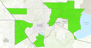 This image, taken of the USDA Food Access Research Atlas, shows the areas of Gainesville that have low income residents with little access to quality food. (Courtesy of USDA.gov)