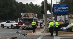 A man and woman from Rockledge, Fla. were killed today in a crash at SW 34th St. and 20th Ave. (Taylor Hagan/WUFT News)