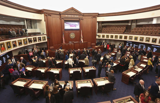 An image of the Florida State Senate in session in 2016.