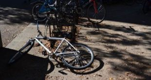 At the beginning of each school year, some students lock up their bike in what seems to be the most convenient space. Many never return to retrieve the bike. (Monica Humphries/WUFT News)