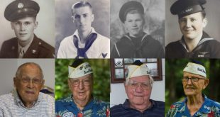 "(From left) Francis ""Dutch Scholtz, Frank Emond, Duane Reyelts and Cass Phillips, all survivors of the attack on Pearl Harbor. (Michael Stone/WUFT News)"